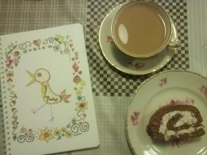 """Kirjoita muistiin asiat kahvihetkellä tai piirrä jotain kivaa. Muistikirja """"Lintu ja pieniä asioita"""""""