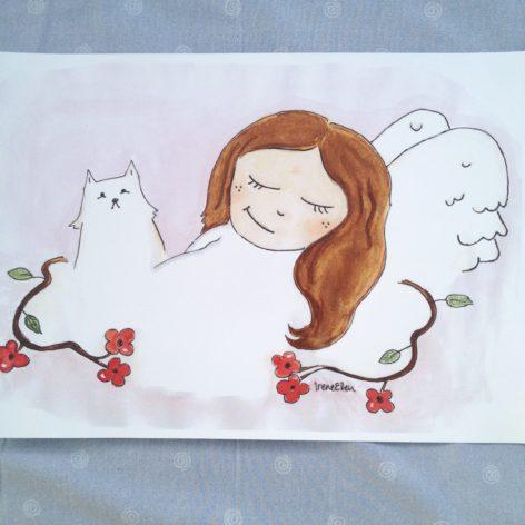 Kissa ja enkeli juliste A3