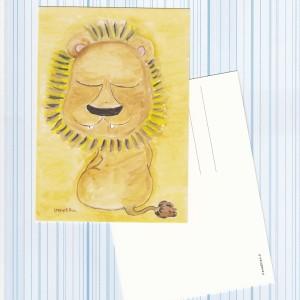 postikortti Iloinen leijona