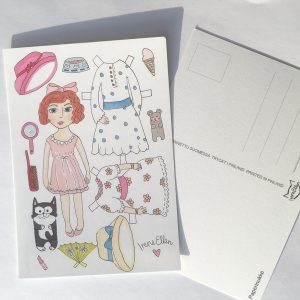Paperinukke postkortti
