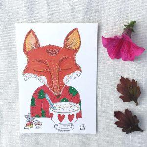 Hyvää joulua ja puuroa postikortti