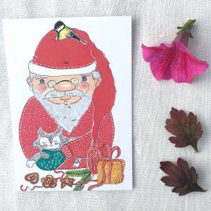 Joulupukki talitintti ja kissa joulukortti
