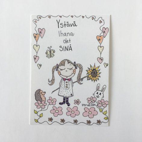 Ystävä ihana olet sinä postikortti