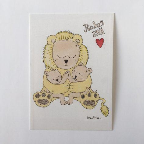 Isä leijona postikortti