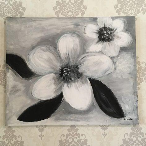 Valkoiset kukat akryyli maalaus