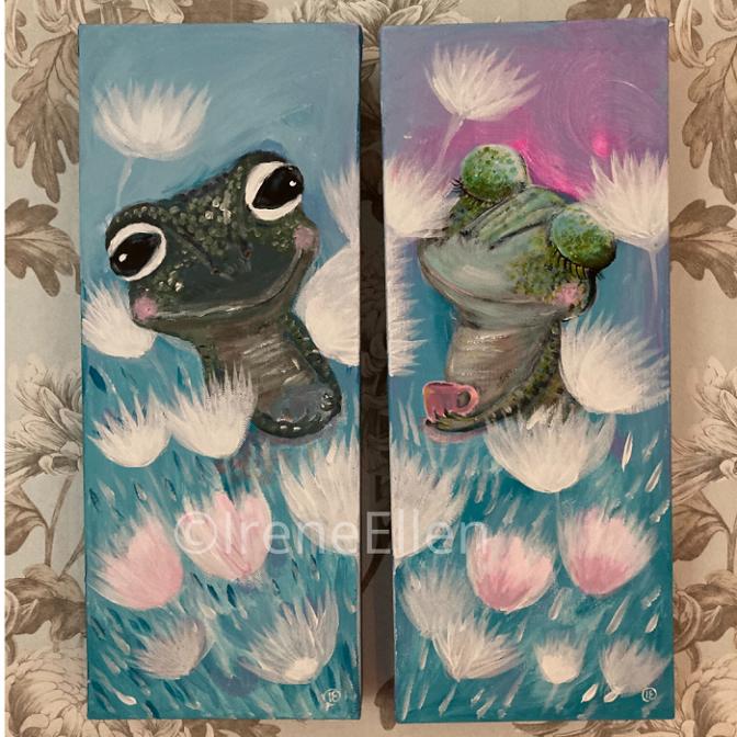 Tyttö ja poika sammakko taulut