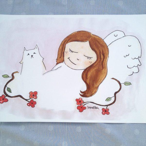 """Juliste A3 """"Kissa ja enkeli"""""""