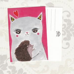 Kissa ja siili postikortti