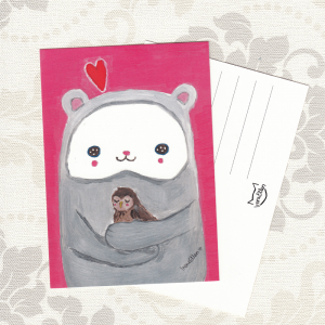 Nalle ja lintu postikortti