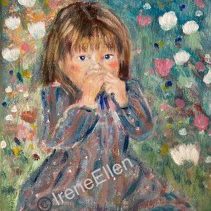 Tyttö niityllä akryylimaalaus 2021