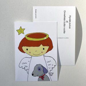 Joulukortti Enkeli ja koira