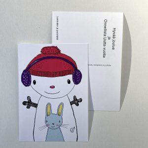 joulukortti Lumiukko punalakki